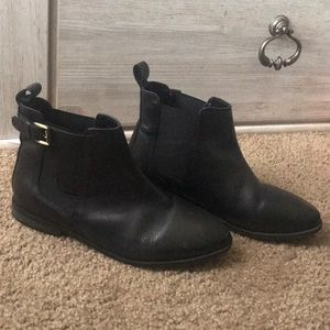 Black leather top shop booties